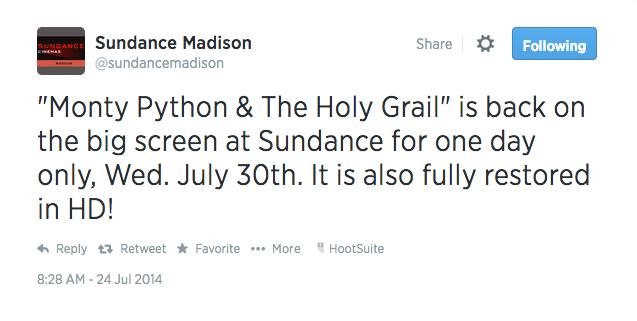 sundance twitter monty python hd