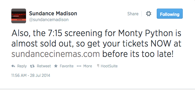 sundance twitter monty python sold out